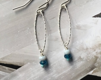 Sterling Silver Hoop w/Blue Opal & Apatite Earrings