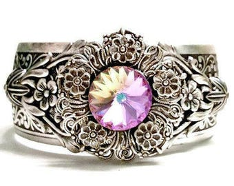Silver Filigree Cuff Bracelet, Purple Crystal Cuff,  Assemblage Statement Cuff, Filigree Crystal Cuff, Flower Cuff, Silver Cuff Bracelet,
