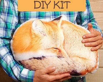 DIY Pillow Kit, diy kit sewing, fox plush, stuffed animal, stuffed fox, nursery pillow, fox pillow, fox stuffed toy, forest animals