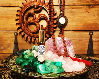 Heart Chakra Essence Rollerball and Rose Quartz Crystal