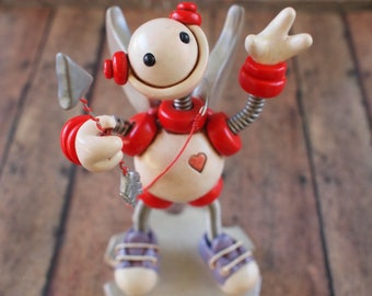 Robot Cupid Valentine's Day Geeky Mini Robot Sculpture White Red TECHIE LOVE GIFT