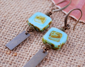 Rustic bohemian earrings, Teal square boho earrings, unique everyday simple earrings, casual modern earrings, summer trend, tribal style