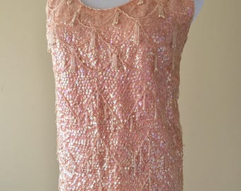 Vintage 50 Top, 1950's Beaded Shell, Pink Wool Beaded Sleeveless Shell Top