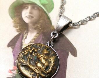 1800s SQUIRREL BUTTON necklace, Victorian Chipmunk on silver chain. Antique button jewellery.