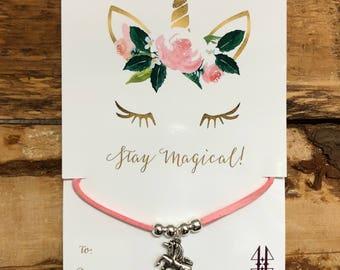 Girl bracelets, adjustable bracelets, Unicorn stay magical suede bracelet