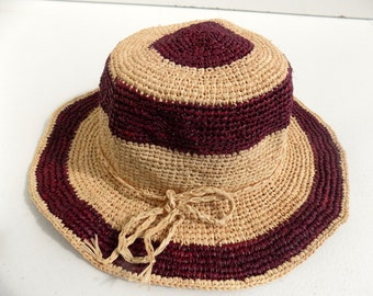 Hat, child, daughter, 54/55 cm, Sun Hat, floppy hat, straw hat, crochet, hand made raffia strohhut/natural/straw hat