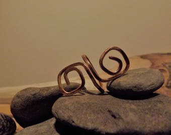 Hammered Copper Swirl Dreadlock Bead