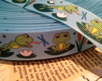 "3 yards 7/8"" Frogs and Lily pads Grosgrain Ribbon"