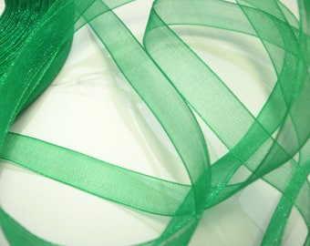 10 m of grass green 10 mm organza Ribbon