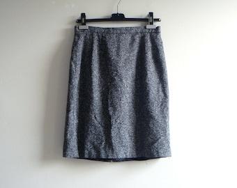 90s Italian Tweed Wool Skirt - Gray Speckled Slit Pencil Skirt - Women's 8