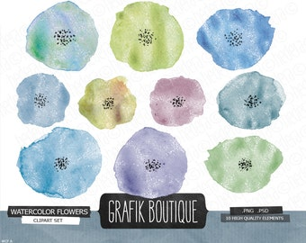Hand Painted Watercolor Flowers clip art, flower, blossom, party, invitation, diy, card
