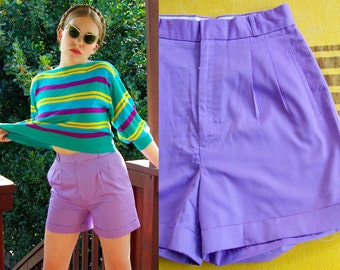 LILAC 1980's 90's Vintage Light Purple High Waist Cotton Shorts // size Small // 27 Waist // by Pheasant Hill