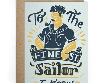 Valentines Cards, Sailor Greeting Cards, I Like You Card, Cards for Him, Card for Boyfriend, Card for Husband