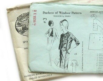 1966 Spadea Pattern - Duchess of Windsor #3 Suit / Asymmetrical Jacket with Three Quarter Sleeves and Slim Fit Skirt- Size 12 - UNCUT FF