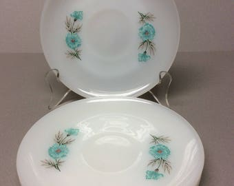 """Set of 4 Anchor Hocking Fire King """" Bonnie Blue"""" Cup Saucers No Cups! Made in U. S. A. Ovenproof"""