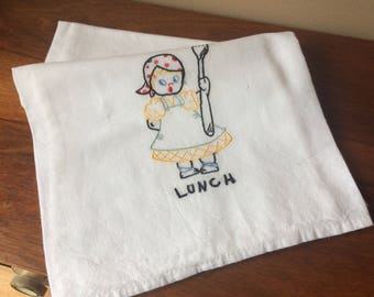 Vintage Dish Towel Cotton Lunch Dishtowel Mid Century Embroidered Tea Towel