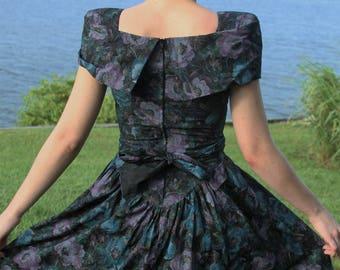 Vintage 80's Floral Off The Shoulder Party Dress