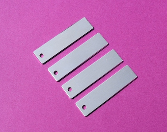 "50 - 5052 Aluminum 3/8"" x 1 3/4"" Rectangle Blanks - ONE HOLE - Polished Metal Stamping Blanks - 14G 5052 Aluminum"