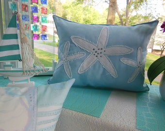 Starfish Jeweled Designer Lumbar Pillow - Beach Pillow in Iced Blue Micro Suede, Basketweave or Chenille - Seaside Seashell Collection