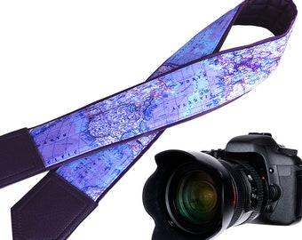 Wonderful World Map supreme quality camera strap for Nikon/Canon/Fuji film etc. available in perfect color combination.