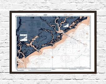 Charleston SC Art Poster, Nautical Chart, Charleston Print, Art, Charleston SC Art, Map Art, Charleston SC, Poster, Charleston Poster
