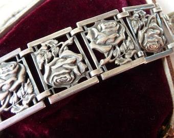 Vintage sterling panel bracelet | silver rose embossed repousse | flower panel bracelet | romantic English Shakespeare style