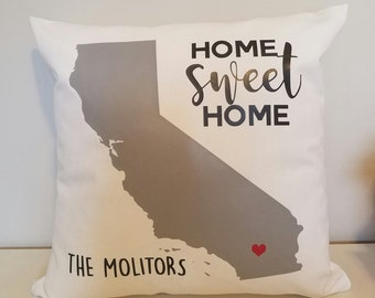 CA Personalized Throw Pillow - California Home Sweet Home - Choose Any State - Perfect For Housewarming Gifts, Weddings, Anniversaries