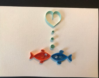 Kissing Fish Quilled Card