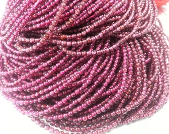 2mm Garnet Smooth Beads, 14 inch
