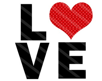 Love Valentine Letters Digital Download for iron-ons, heat transfer, Scrapbooking, Cards, Tags, Signs, DIY, YOU PRINT