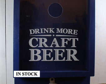 SALE/Drink more CRAFT BEER/Bottle Cap Holder/Bottle Opener/Beer Decor/Bar Decor/Christmas Gift/Male Gift/Engraved/Fast Shipping