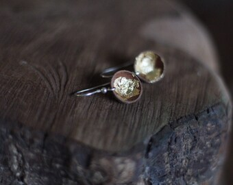 Real woodland acorn cap earrings with gold leaf and sterling silver ear wires