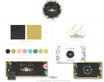 Social Media Branding,Facebook Timeline Cover,Business Card Templates,Logo,Sub Logo-Chalkboard,Floral-Gold,Black,Pink-Logo Branding Package