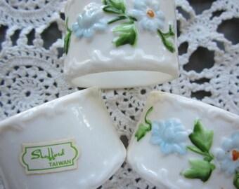 Vintage Bone China Napkin Rings by Shafford Set of 6 Original Box Cottage Chic