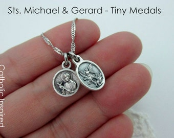 Tiny St Gerard & Michael Medal Necklace - Stainless Steel Chain - Catholic Saint Angel Protection Pregnancy Baby Mother Mini Dainty Small