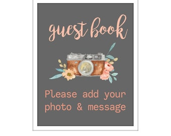 """Wedding Guest Book Sign INSTANT DIGITAL Download. Printable Guest Book Sign Wedding. Photo Guestbook Sign, Sign For Guest Book 8"""" x 10"""" inch"""