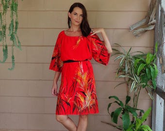 Vintage 60's Dress / Abstract Botanical Midi Tent Shift Dress / OSFM