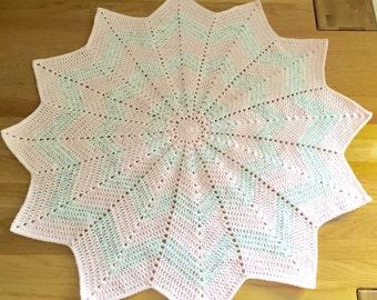 Baby blanket // 12 point star baby blanket // Pale Pink baby blanket // baby girl blanket // pink and multicoloured white 12 point star