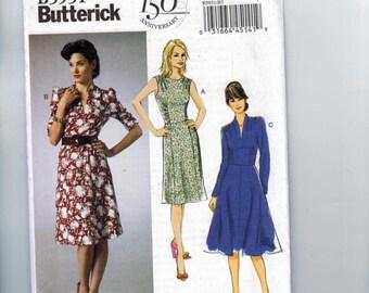 Misses Sewing Pattern Butterick B5951 5951 Misses Retro Rockabilly Dress Full Slim Skirt Size 8 10 12 14 16 UNCUT