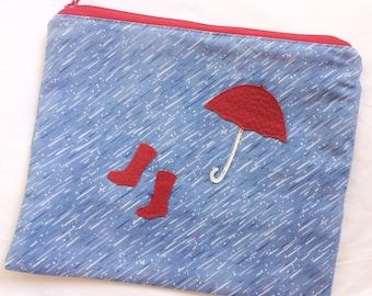 Regenschirm und Stiefel, regnerischen Tag-Liebhaber-Zip-Beutel