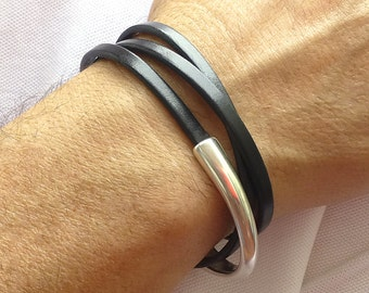 Leather Wrap Bracelet, Mens Leather Bracelet, Black Leather Bracelet, Leather and Silver Bracelet, Magnetic Clasp Bracelet, Leather Jewelry