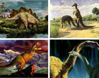 Lot Of 4 Dinosaur Fabric Panel Quilt Squares