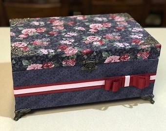 Decorative Wedding Box, Vintage Card holder, Wishing Well Box, Jewelry Box, Card Box