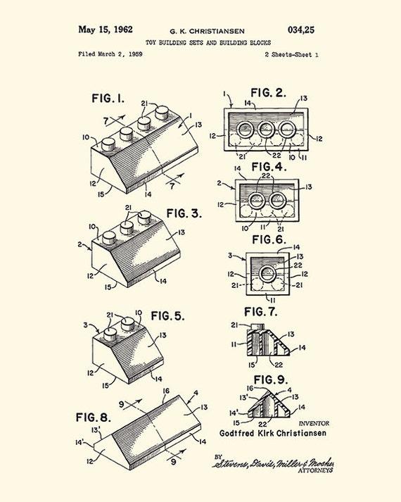 Lego set Patent art print lego print lego decor lego art print