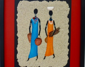 African motif. Art, acrylic painting, Africa.