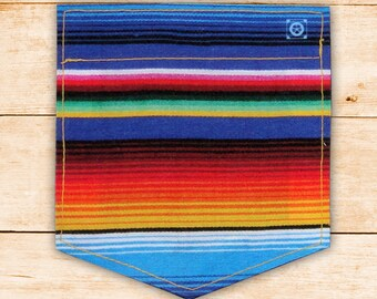 Mexican Sarape Sticky Pocket Patches - Patch for Tshirts