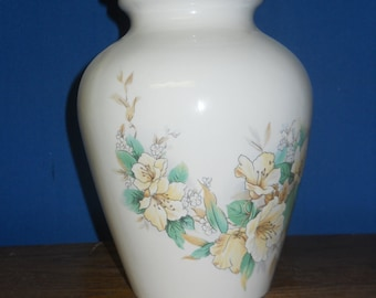 Ceramic jar with lid,urn,White with Yellow 4 o clock flowers Jar with lid,large urn, large jar, art pottery, handmade