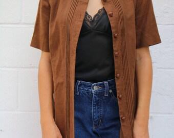 Vtg Button-down Vest w/ Floral Pattern