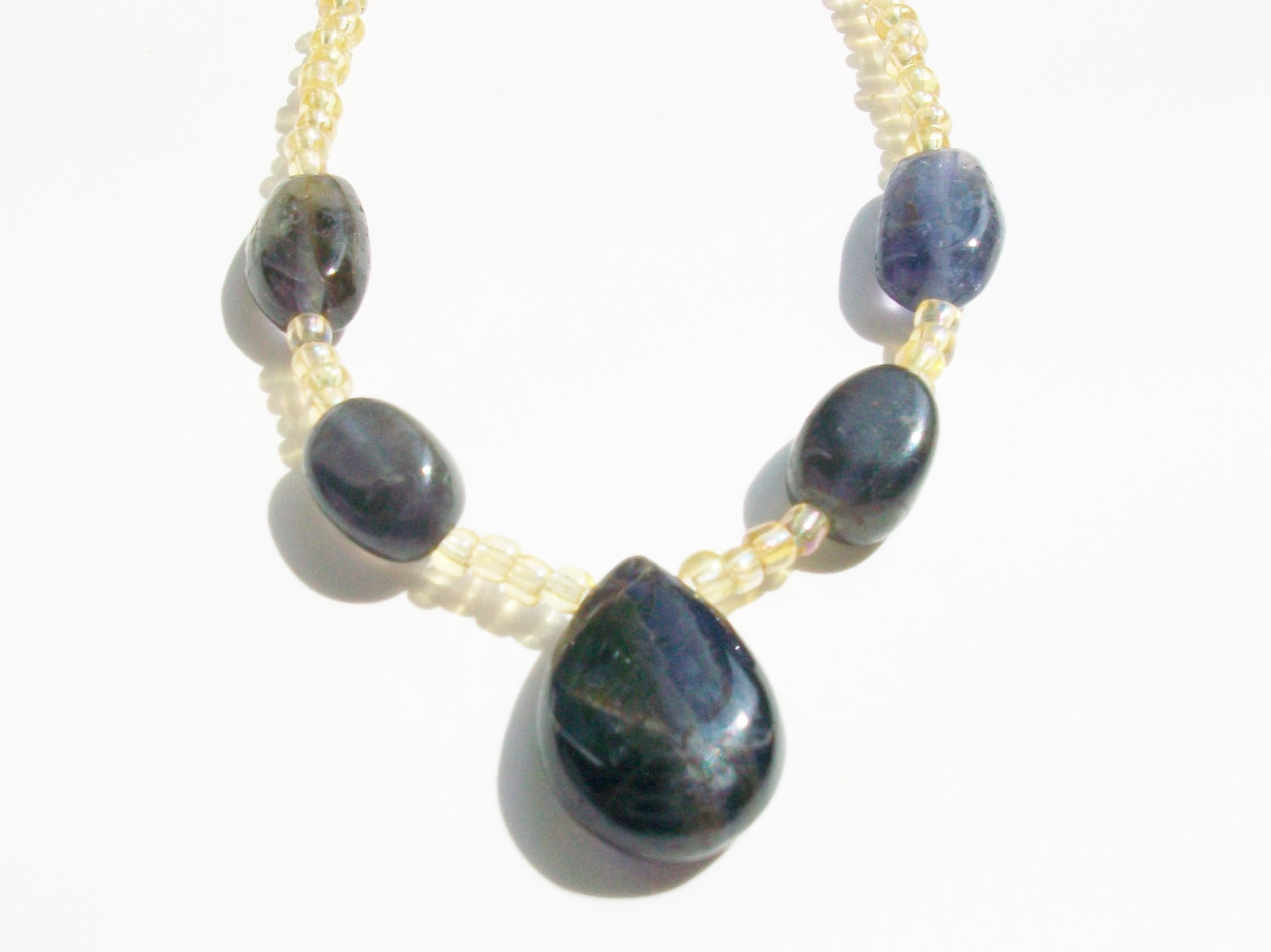 lulu iolite pendant halo with gold belle necklace jewellery products
