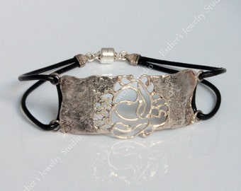 SILVER CUFF 72 names bracelet magnet leather